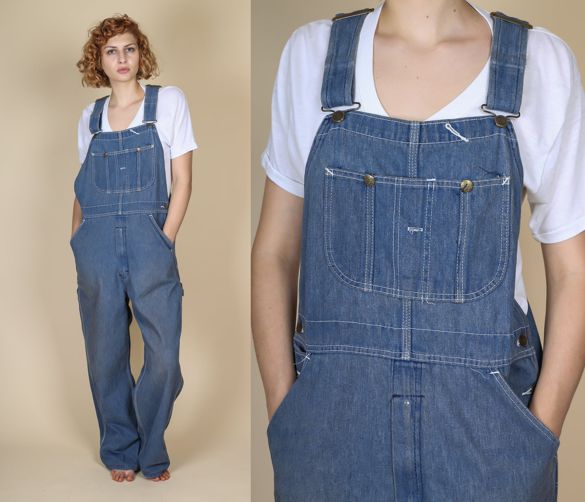 NEW Vanilla Star Blue Denim Jeans Jumpsuit Overall Vintage 70/'s 80/'s M Medium