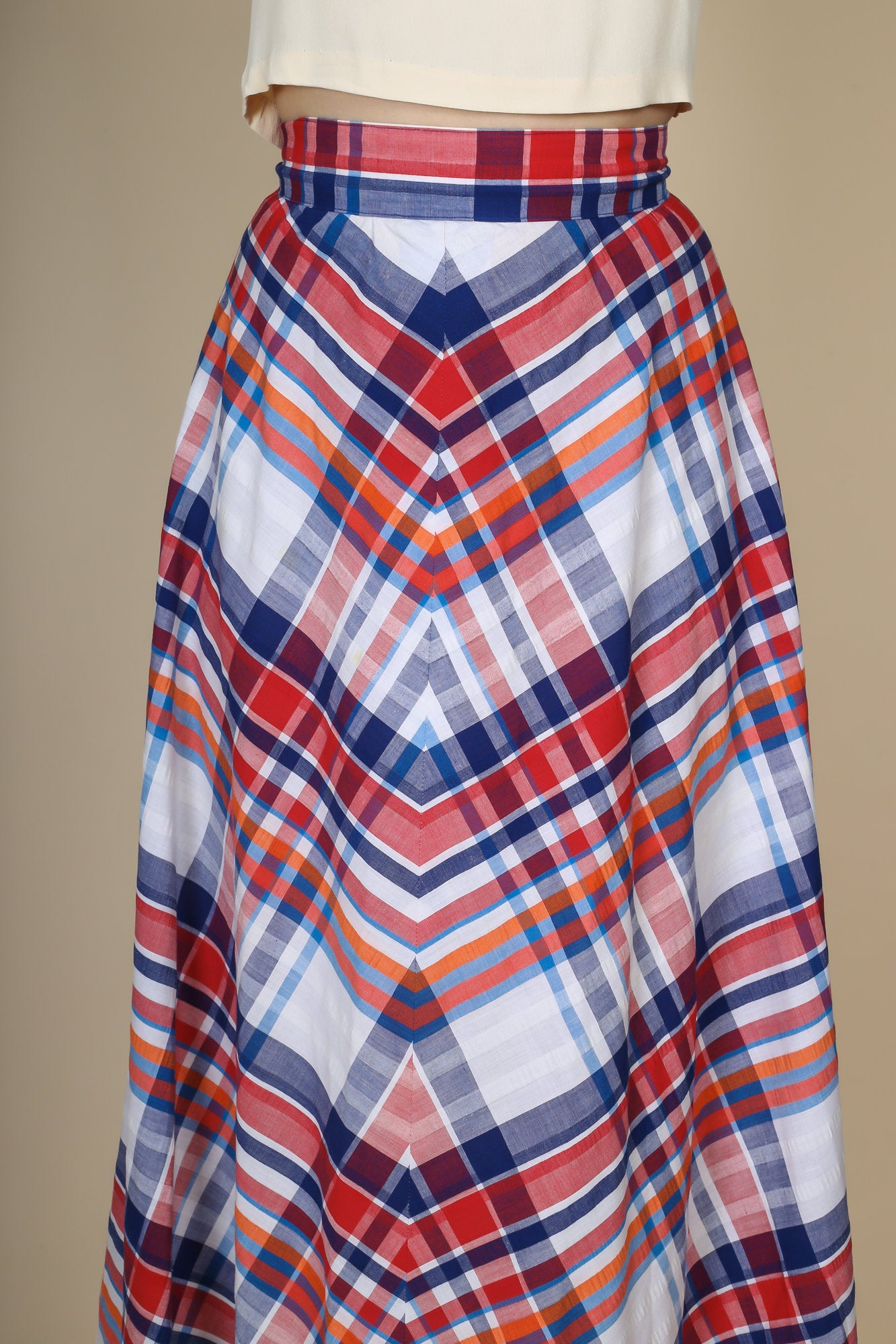 70s Plaid Maxi Skirt - XS to Small