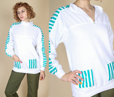 80s Striped Pullover Sweatshirt - Medium to Large