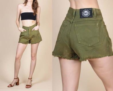 90s Olive Drab Cutoff Jean Shorts - Small