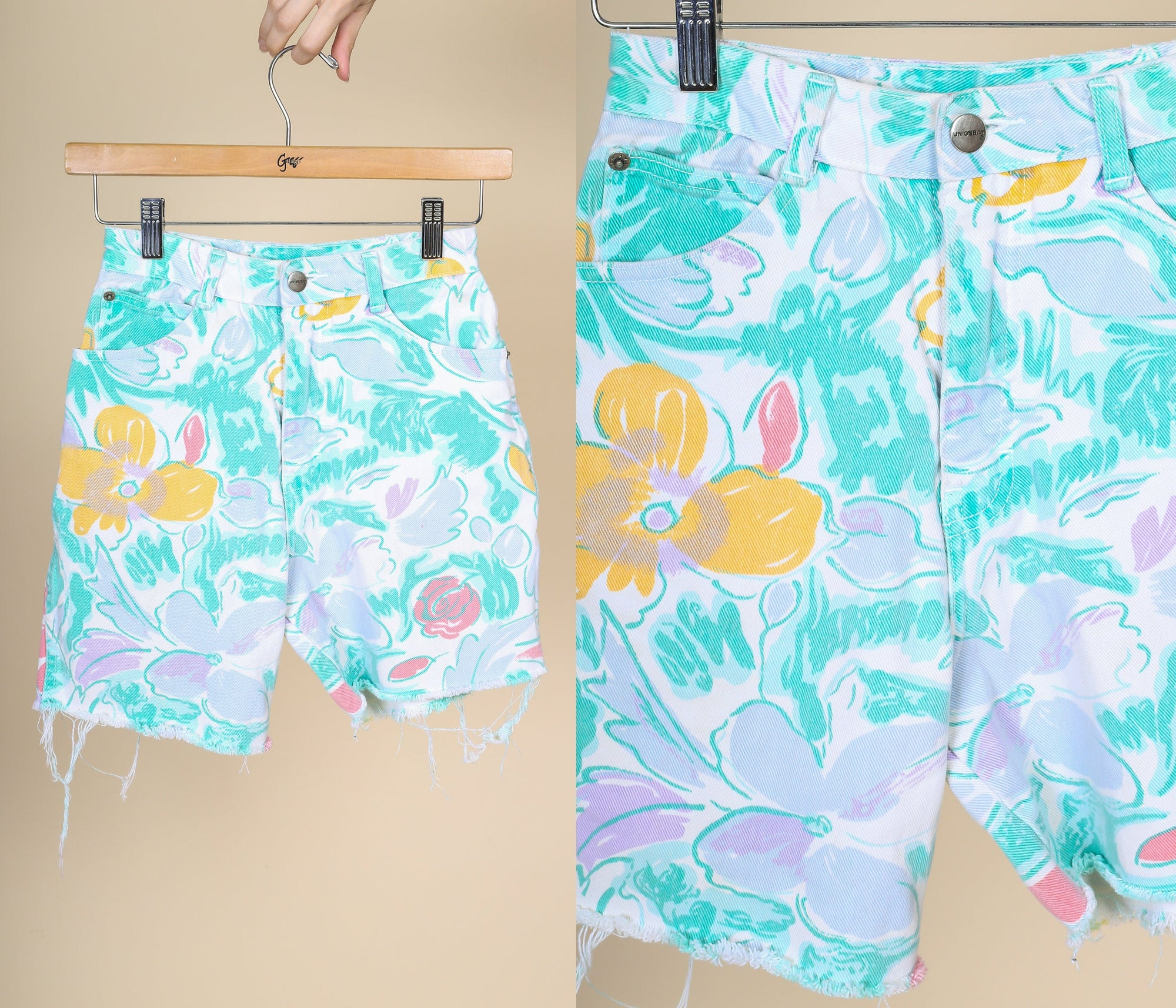 90s Floral Jean Shorts - XXS // Vintage High Waisted Denim Shorts