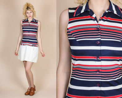 70s Striped Skort Dress - Small