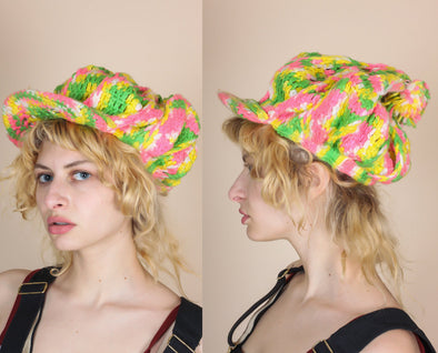 90s Rainbow Crochet Rasta Knit Hat