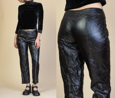 90s Black Leather Pants - Small to Medium