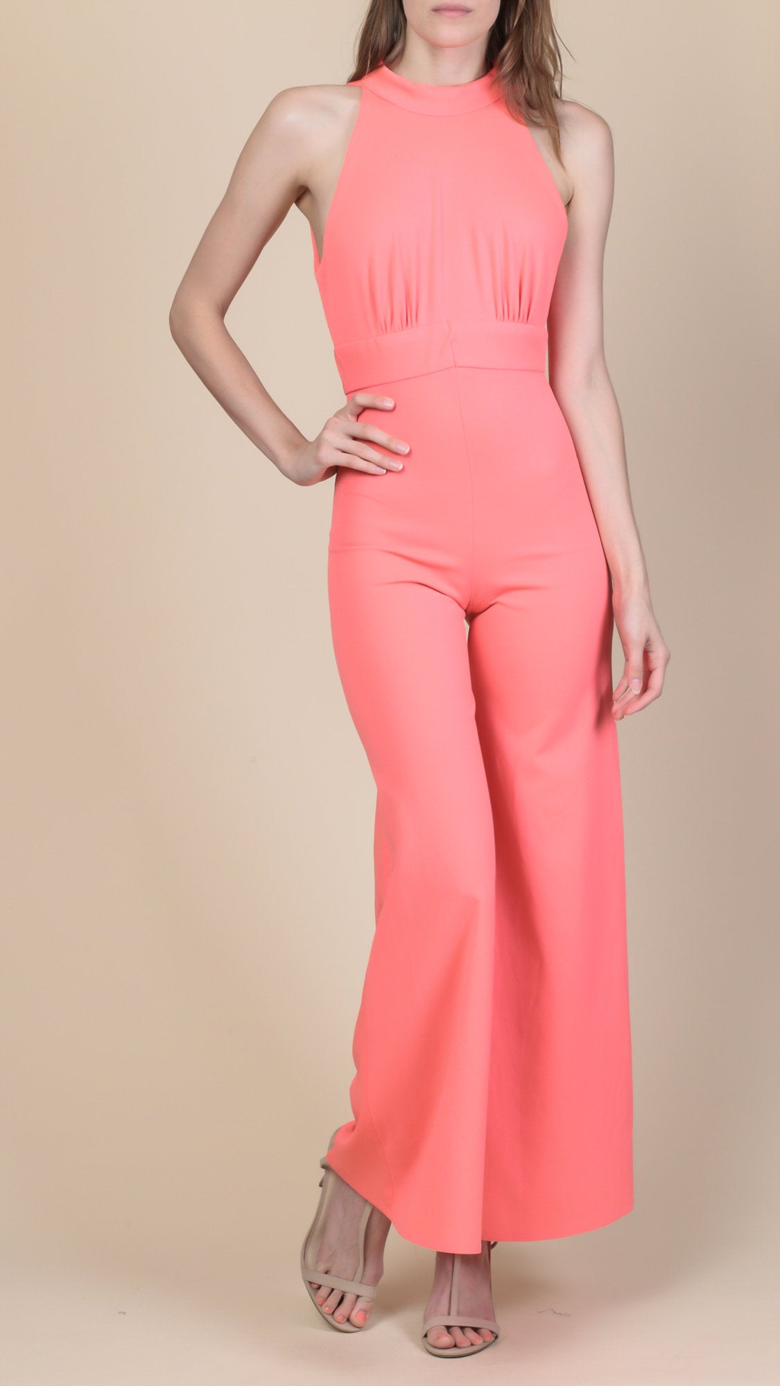 70s Pink Bell Bottom Jumpsuit - Petite XS