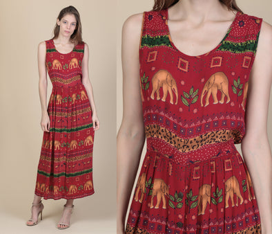 90s Boho Elephant Dress - Large