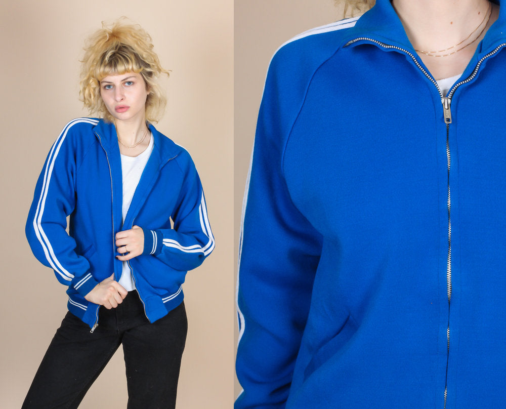 Vintage Striped Track Jacket - Large