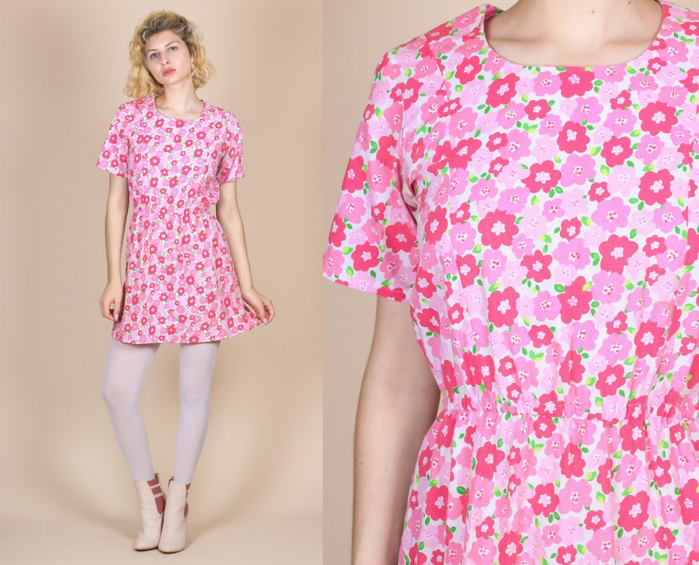 70s Pink Floral Mini Dress - Small to Medium