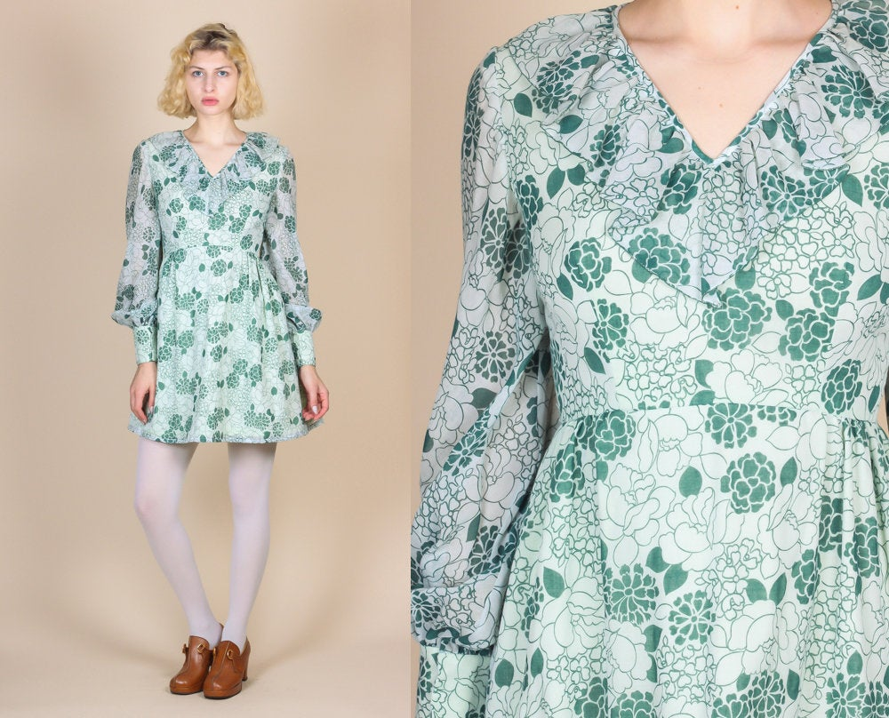 70s Floral Sheer Sleeve Dress - XS to Small