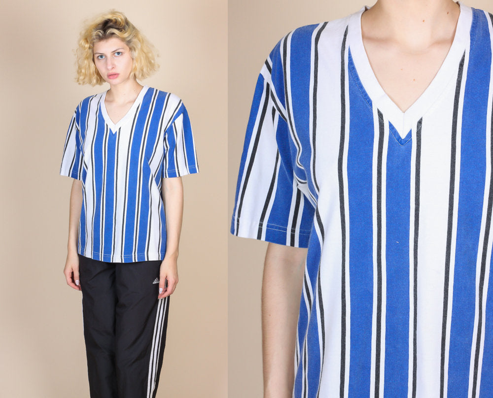 Vintage 80s Striped T Shirt - Large