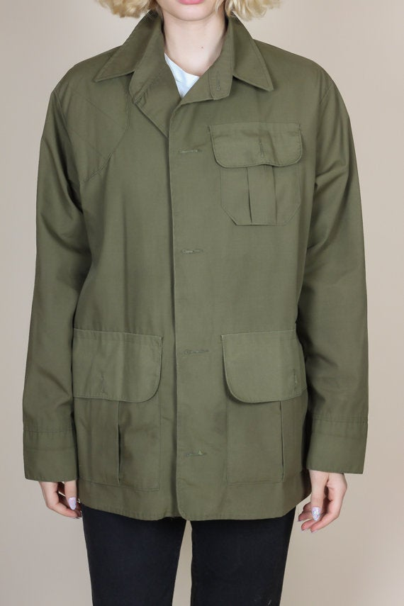 70s Olive Drab Hunting Jacket - Mens Large