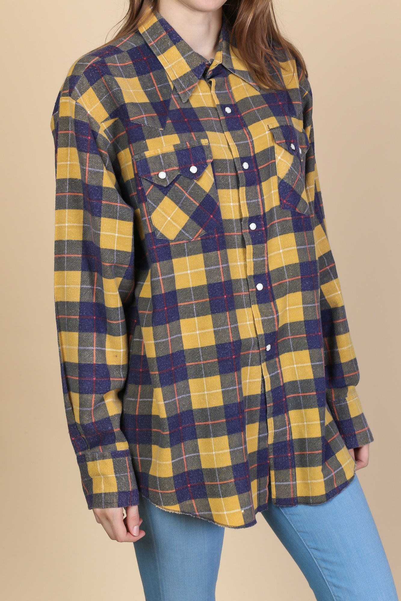 80s Pearl Snap Plaid Flannel - Mens Large