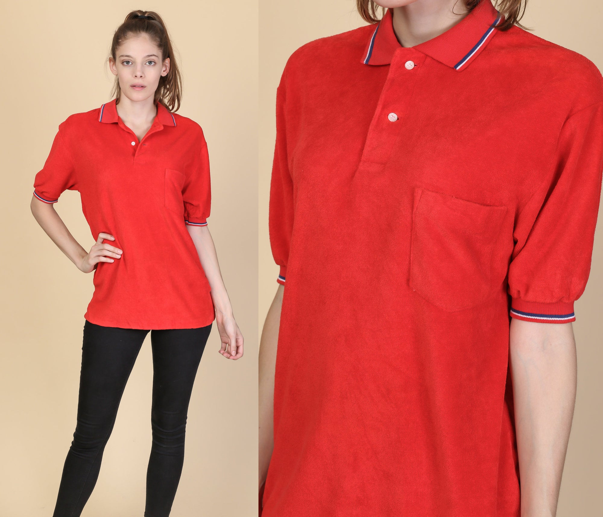 80s Red Terrycloth Polo - Mens Medium