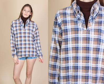 70s Dickey Turtleneck Plaid Collared Shirt - Medium