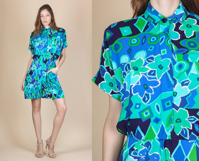 90s Colorful Geometric Floral Grunge Romper Playsuit - Small