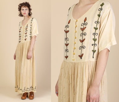 90s Embroidered Indian Maxi Dress - Extra Large
