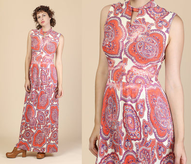 60s Psychedelic Maxi Dress - Medium
