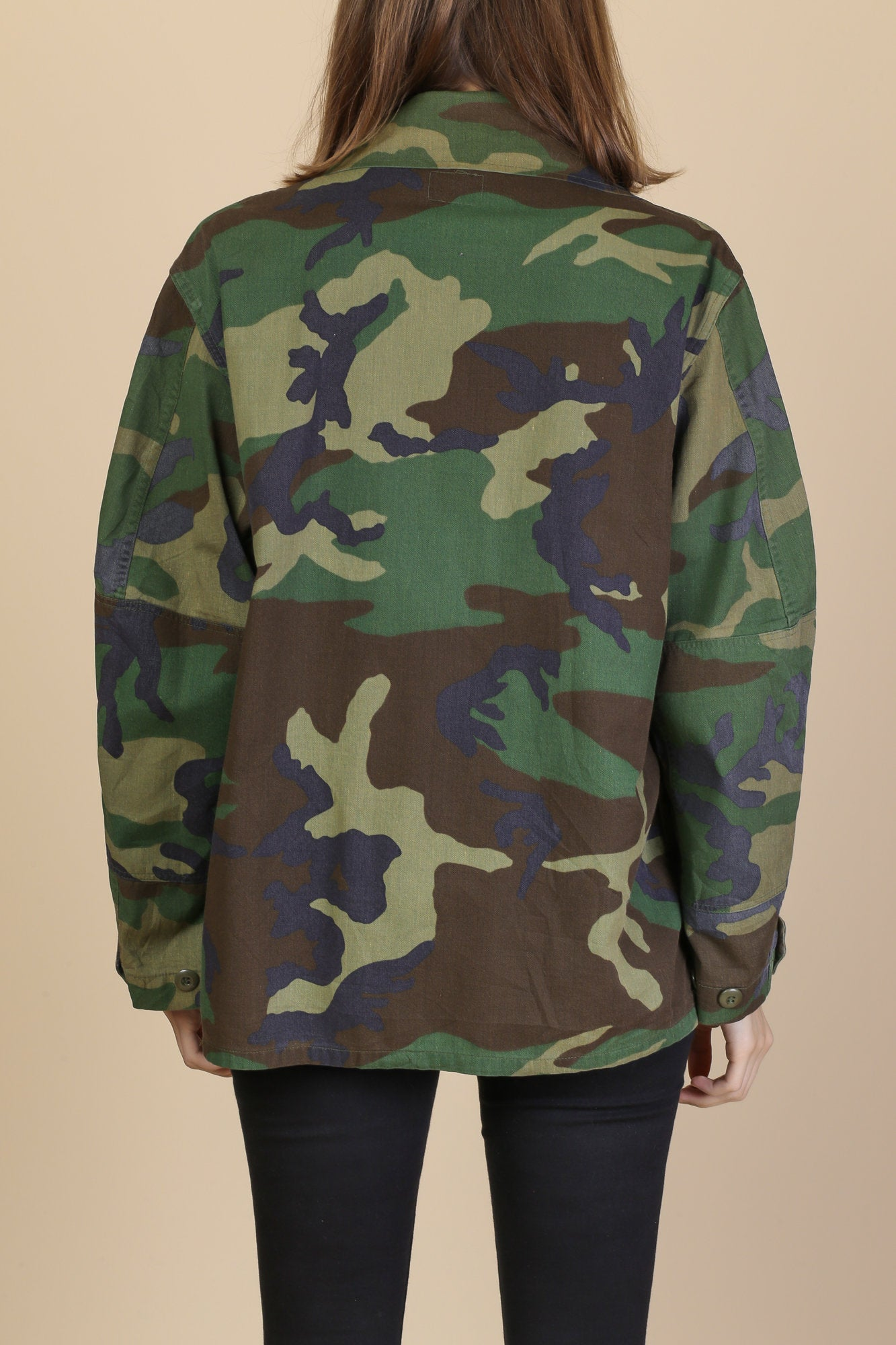 80s Camo Button Up Army Jacket - Mens Medium Short