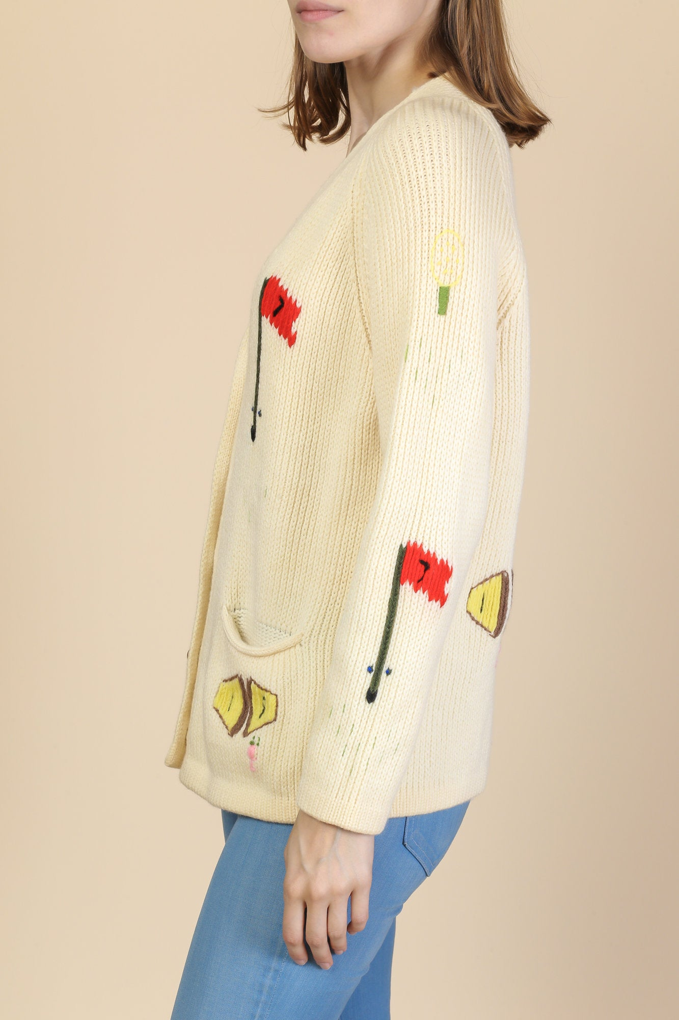 Vintage 70s Golf Cardigan - Small