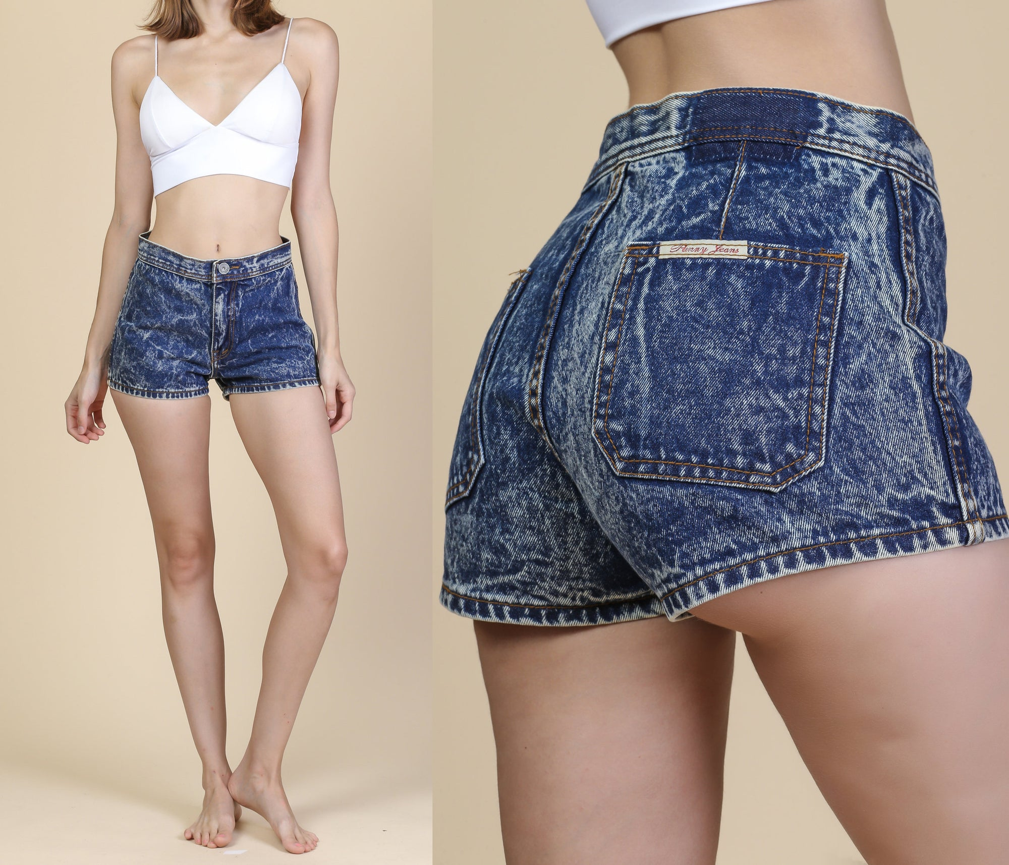 Vintage High Waisted Acid Wash Shorts - Small, 27