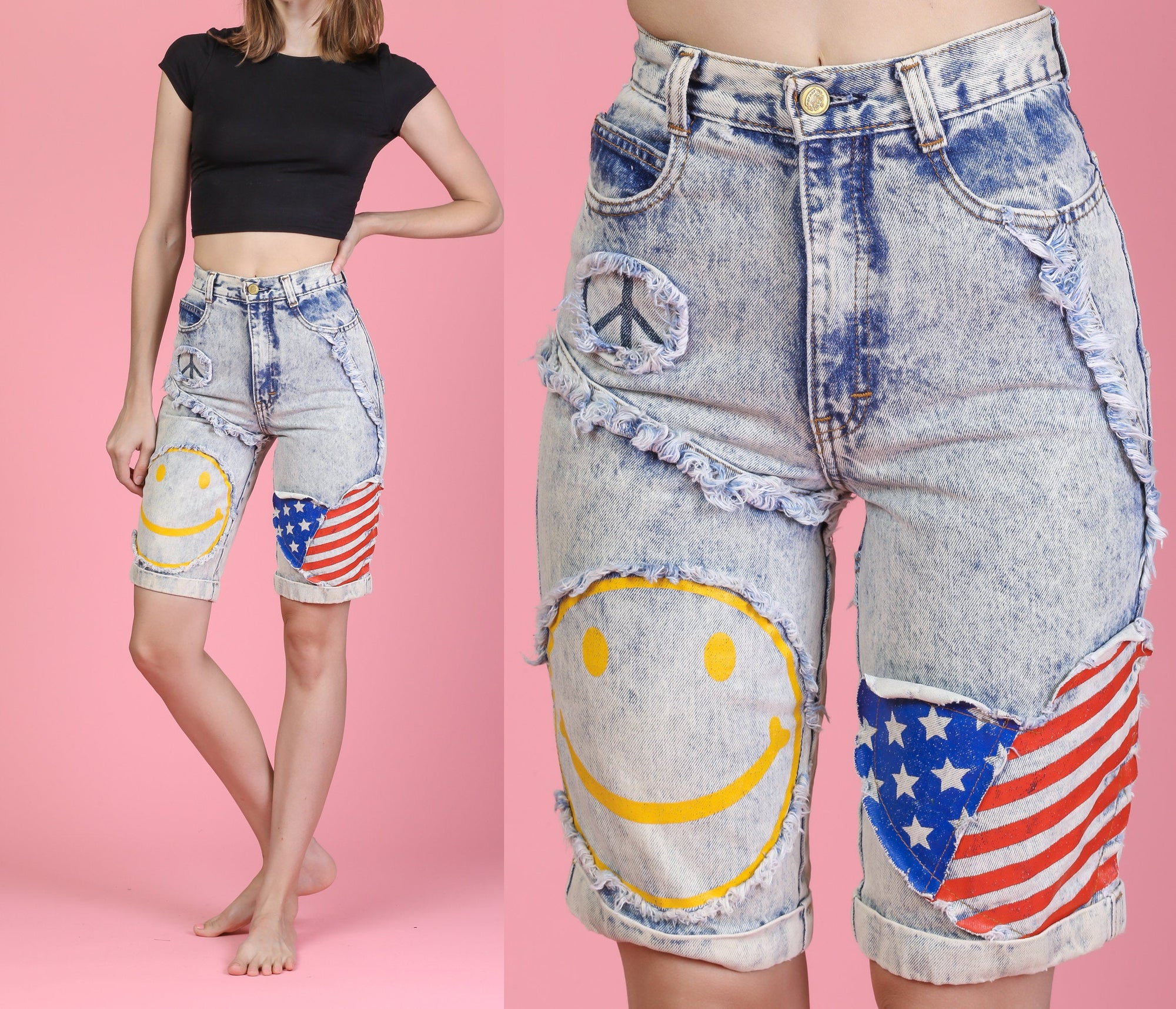80s Acid Wash Frayed Patch Shorts - Extra Small, 24