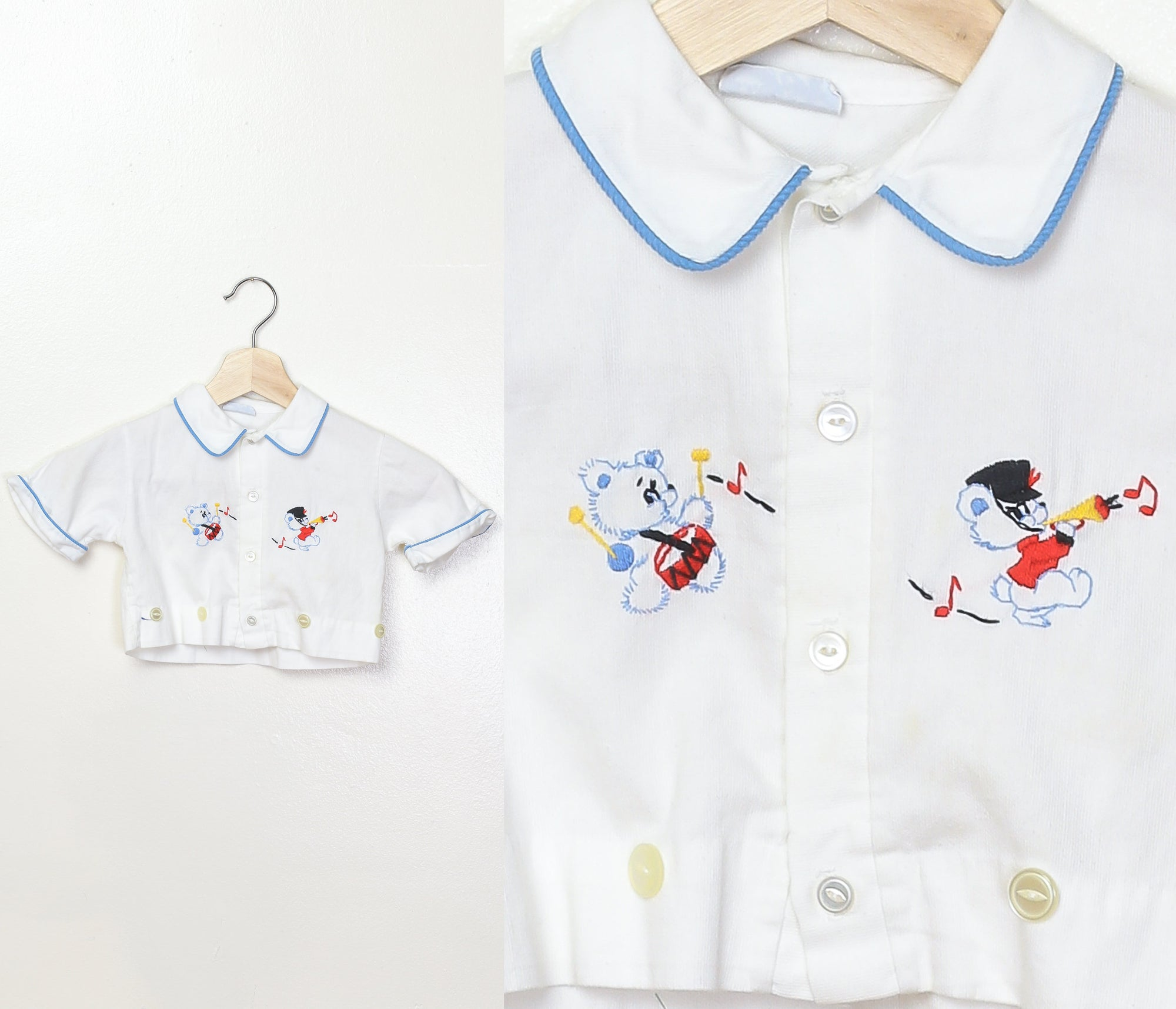Vintage Embroidered Marching Band Bear Toddler Top - 4T