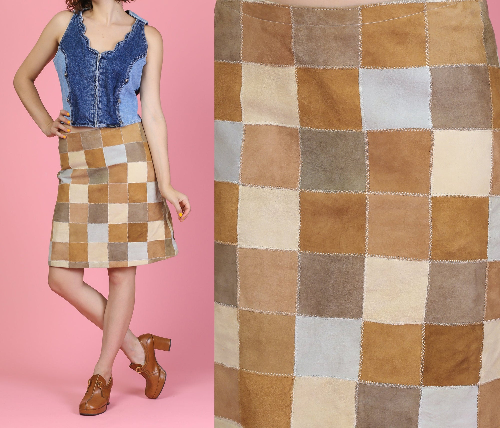 Vintage 90s Does 70s Suede Patchwork Skirt - Medium to Large