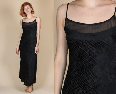 90s Black Velvet Maxi Dress - Small