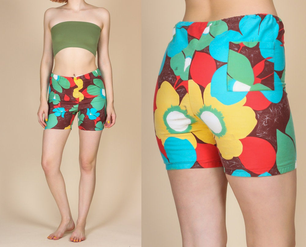 80s Floral Boys Swim Shorts - Small