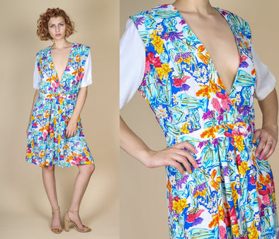 80s Deep V Floral Romper - Medium to Large
