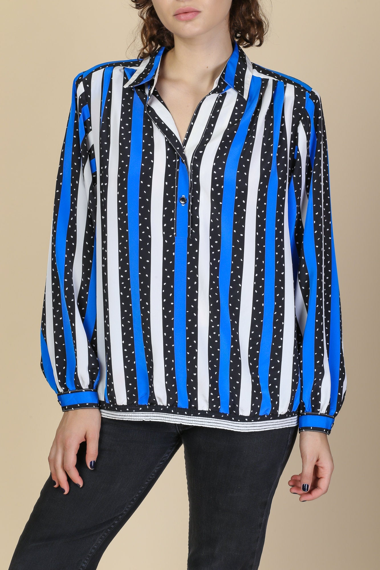80s Striped Long Sleeve Blouse - Large