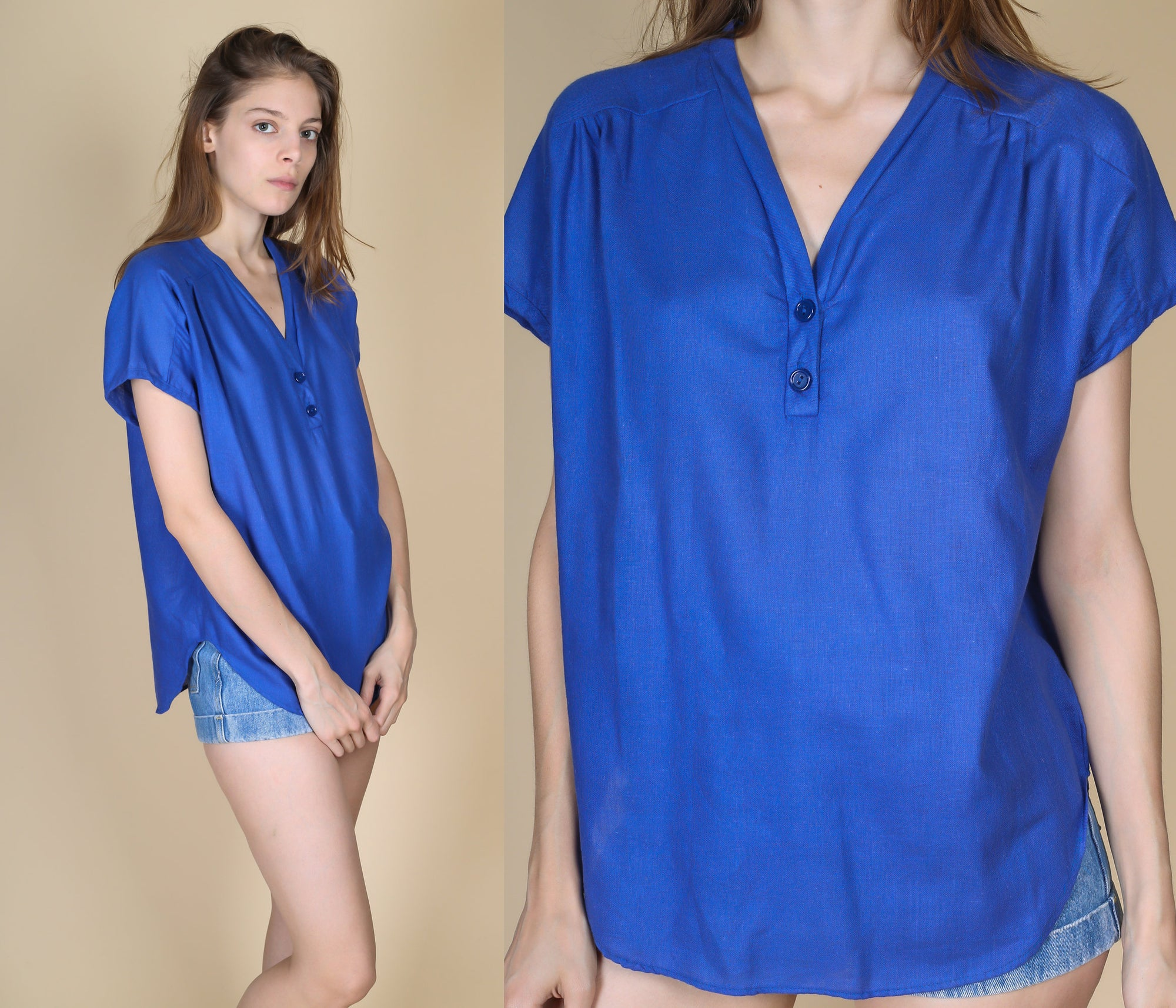 70s Blue V Neck Blouse - Large
