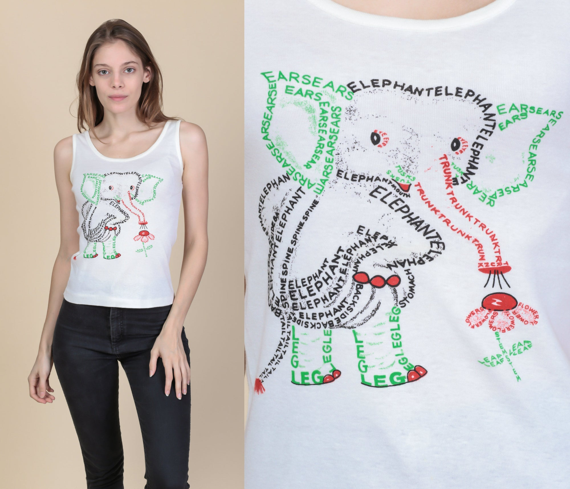 70s Cute Elephant Word Art Tank - Small