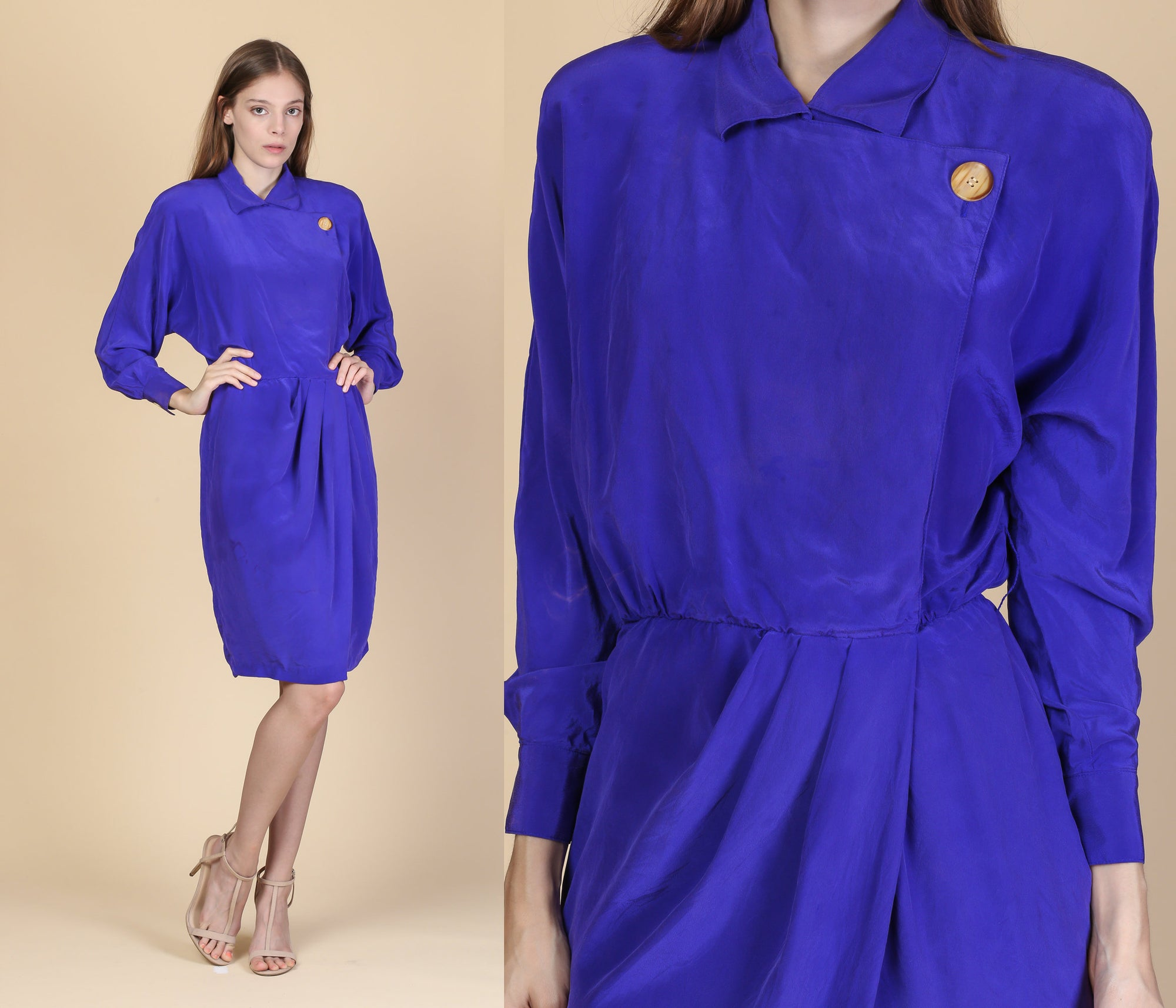 80s Retro Silk Wrap Dress - Small