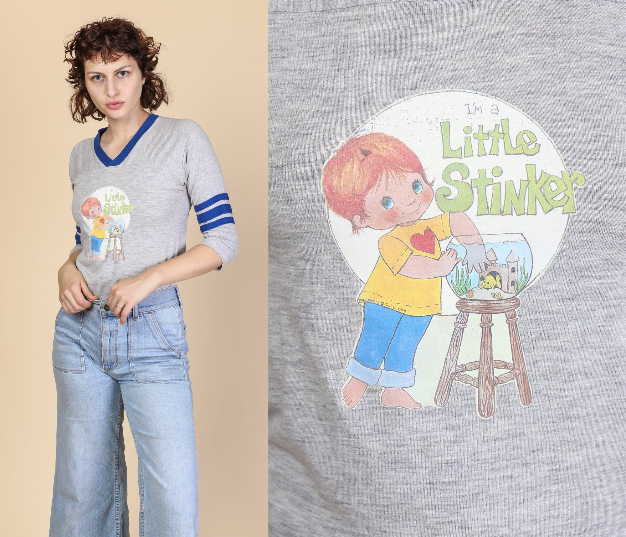 "70s ""Little Stinker"" Iron On Graphic Tee - Extra Small"