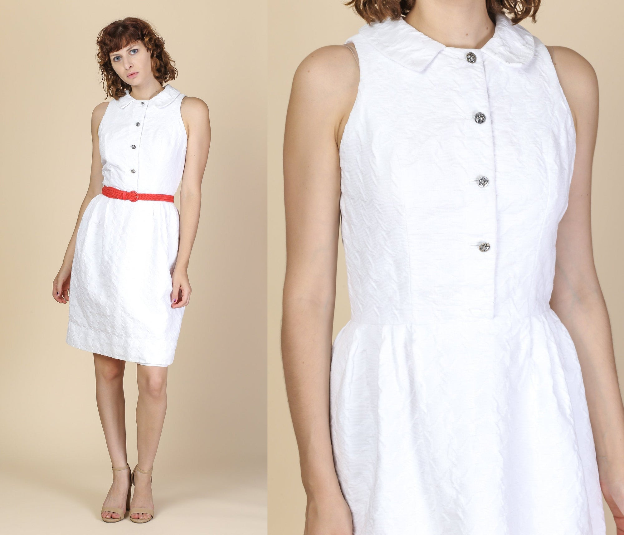 60s White Cotton Day Dress - Medium