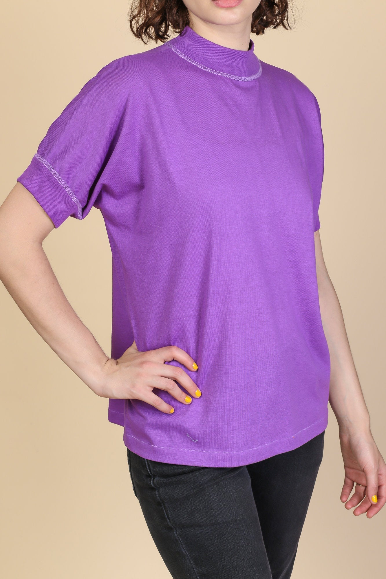 80s Purple High Neck Top - Large