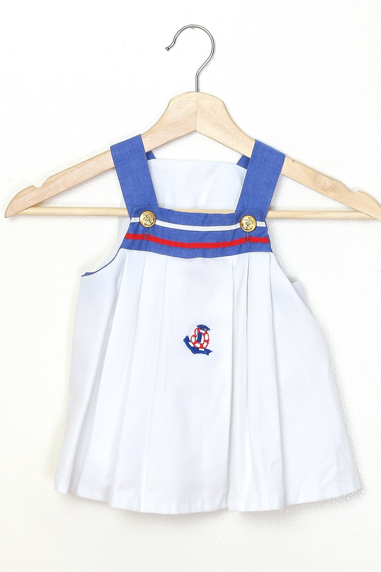 60s Nautical Anchor Toddler Dress - 3T