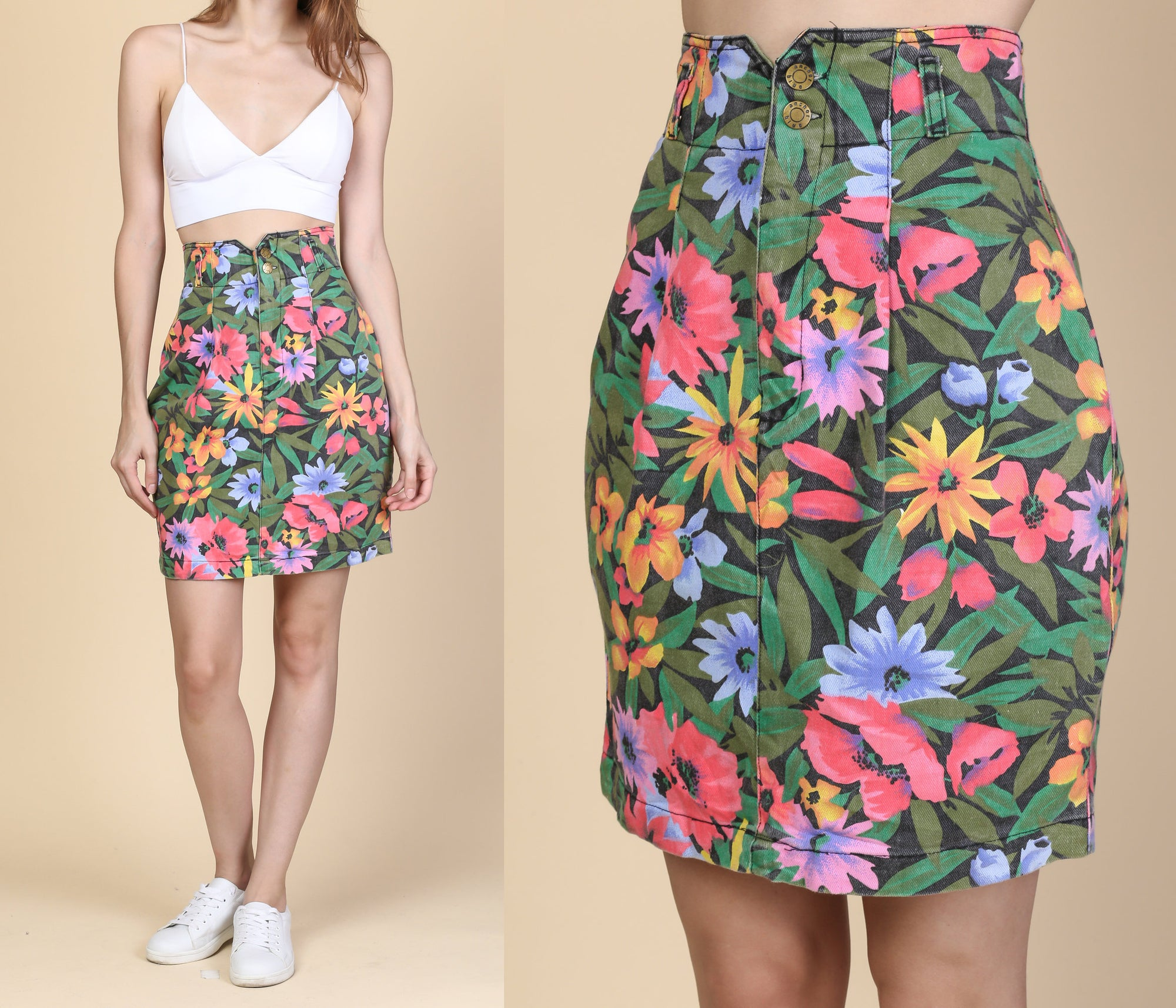 90s Floral High Waist Jean Skirt - Extra Small