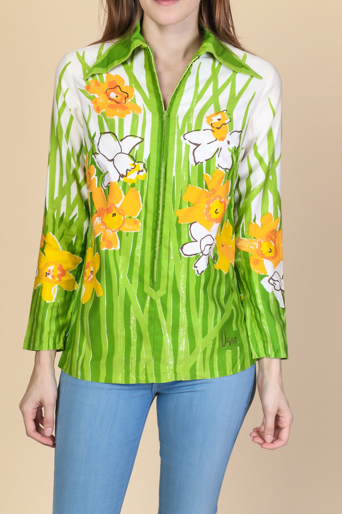 70s Vera Neumann Floral Zip Up Blouse - Small