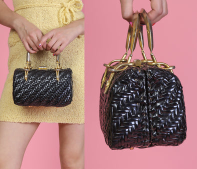 Vintage 1960s Rattan Italian Black Wicker Woven Vinyl Purse