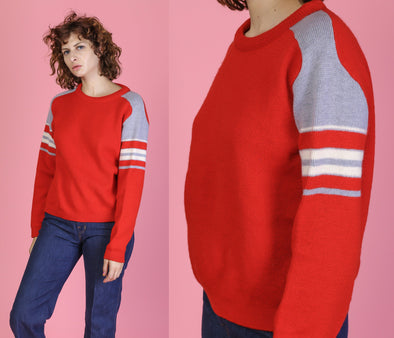 Red Retro 70s White Striped Knit Sweater - Medium to Large