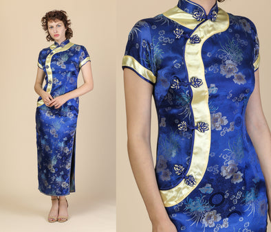 Vintage Cheongsam Maxi Dress - Small to Medium