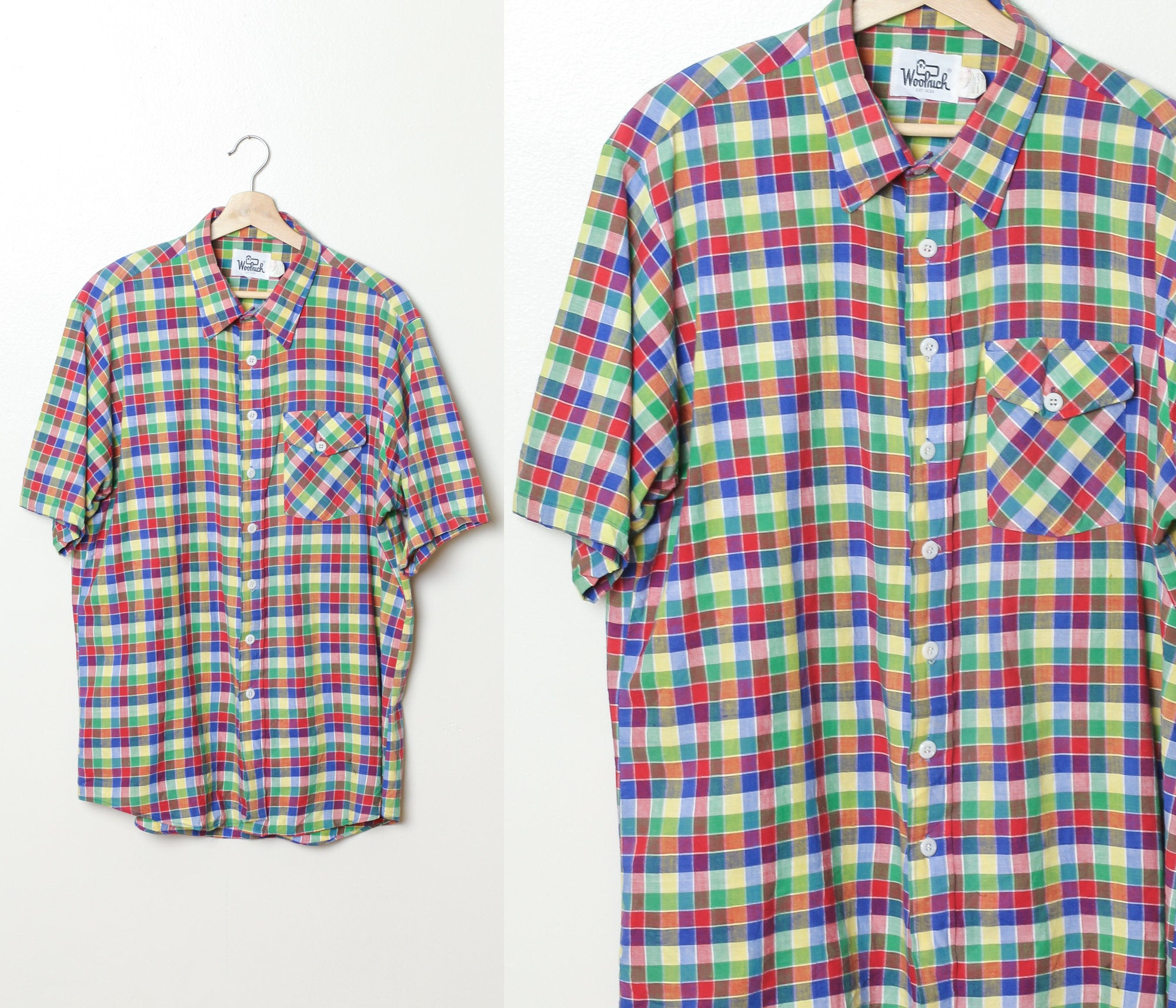 70s Plaid Button Up Shirt - Mens XL