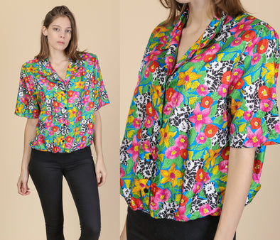 Retro 80s Floral Collared Blouse - Large