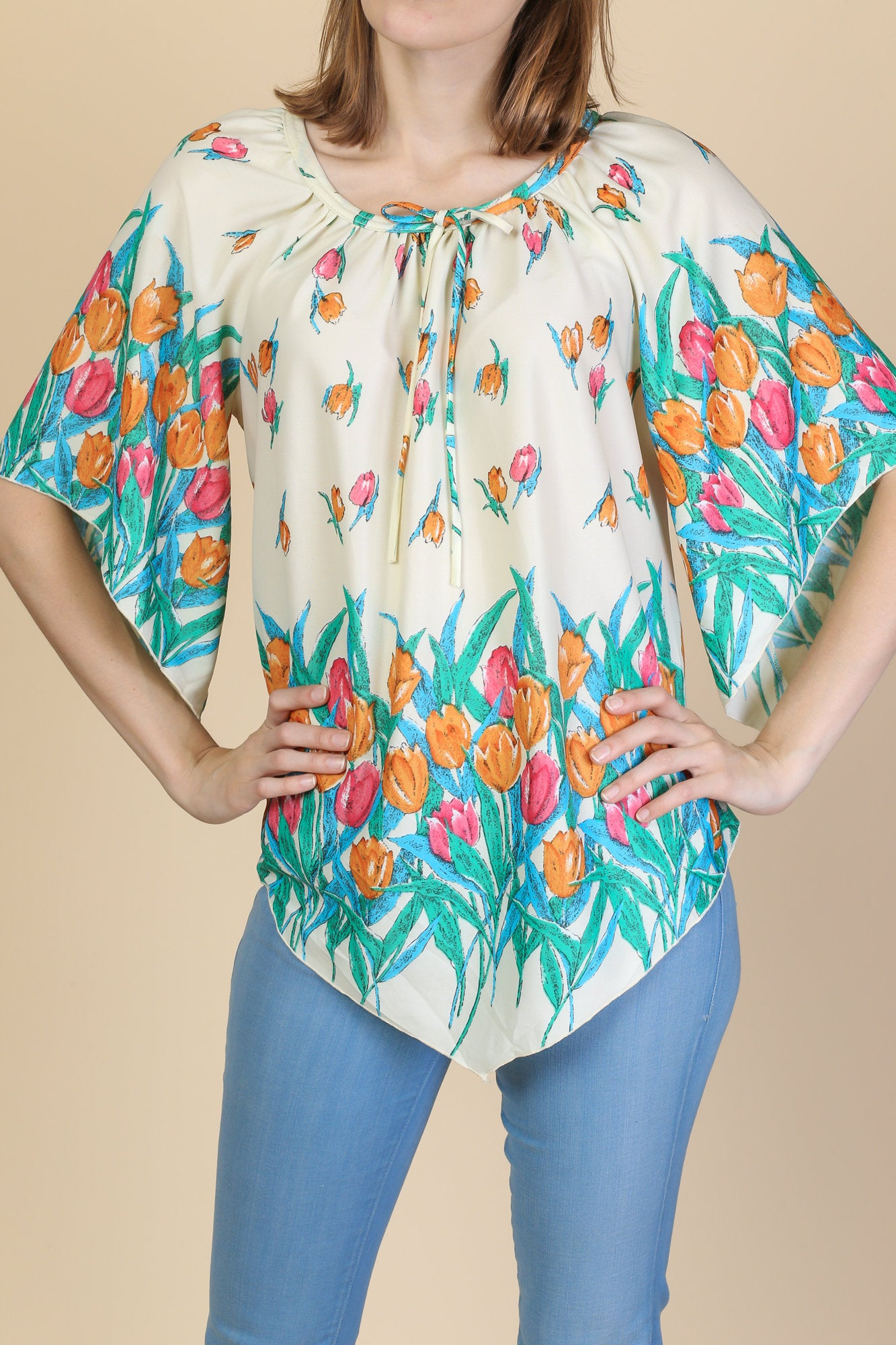 70s Scarf Hem Floral Blouse - Medium to Large
