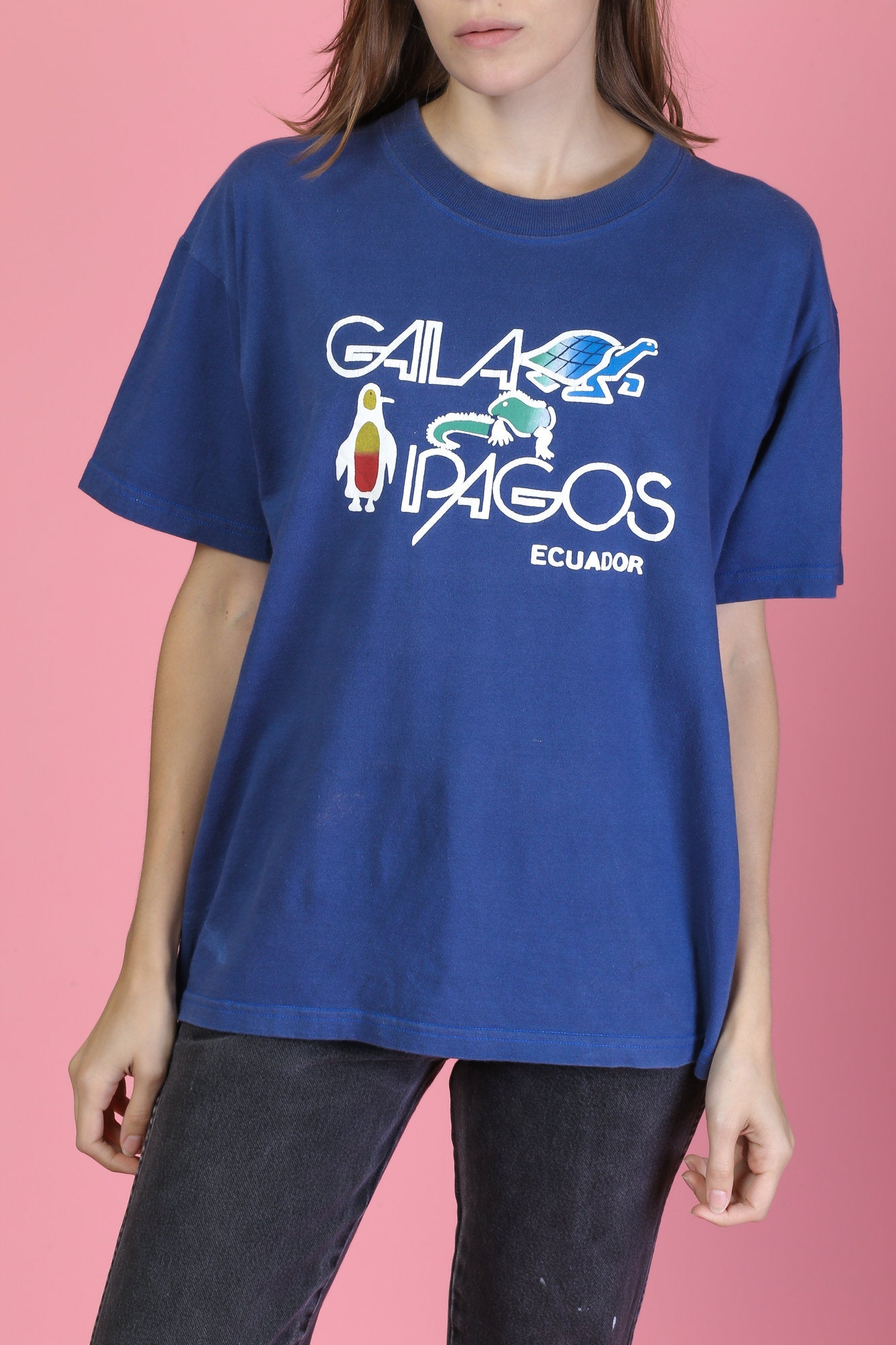 Vintage Navy Blue Galapgos Islands T Shirt - Small