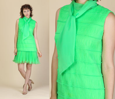 60s Green Drop Waist Pleated Party Dress - Medium