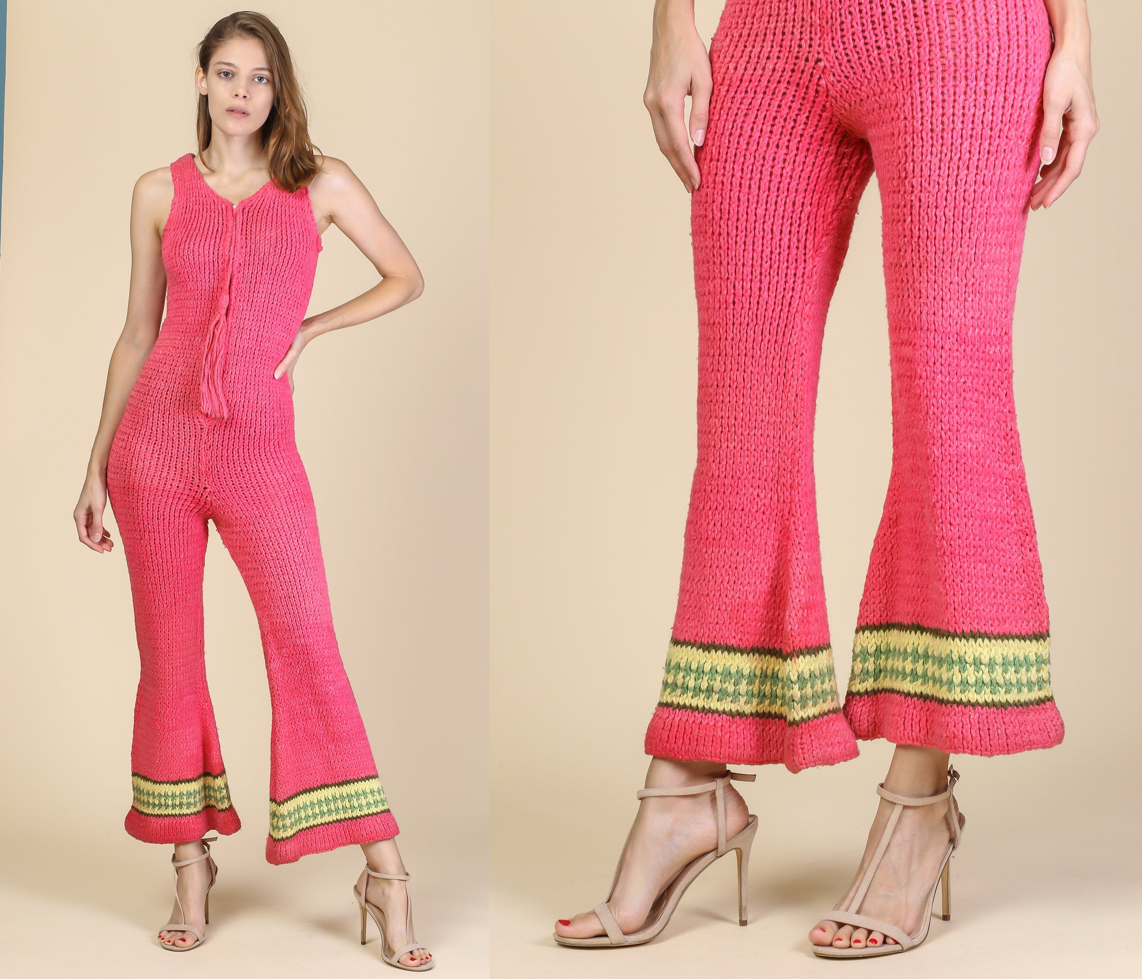 5919c28e99f 70s Knit Bell Bottom Jumpsuit - Small to Medium – Flying Apple Vintage