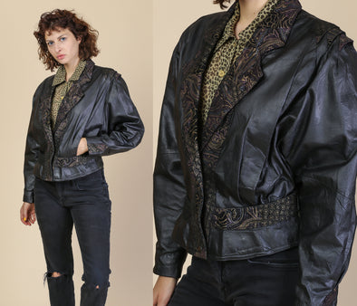 80s Cropped Leather Suede Trim Jacket - Medium